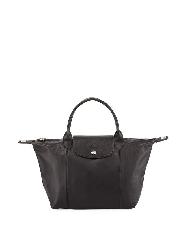 Longchamp Le Pliage Cuir Small Leather Top-Handle Bag with Strap