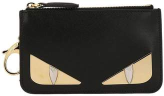 Fendi Key Chain Monster Eyes Mini Sachet Bag In Genuine Smooth Leather With Maxi Metallic Eyes Bugs