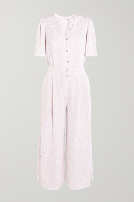 Temperley London Olina Cropped Sequined Tulle Jumpsuit - White