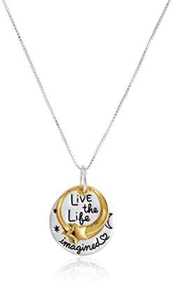 """Two-Tone Yellow Gold Flashed """"Live the Life You Imagined"""" Shooting Star Circle Necklace"""