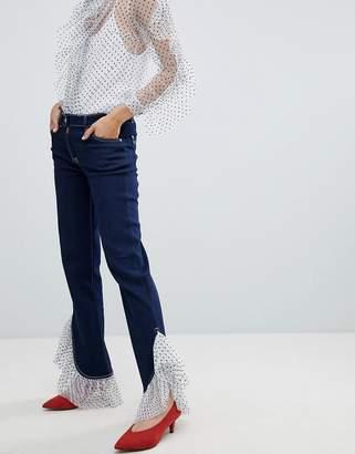 House of Holland Tulle Frill Hem Boyfriend Jeans