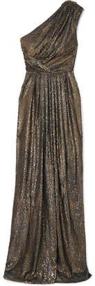 Monique Lhuillier One-shoulder Draped Metallic Fil Coupé Chiffon Gown - Silver