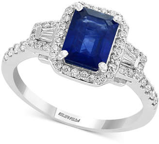 Effy Gemstone Bridal by Sapphire (1-1/2 ct. t.w.) & Diamond (3/8 ct. t.w.) Engagement Ring in 18k White Gold