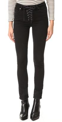 PAIGE Hoxton Ankle Peg Lace Up Jeans $239 thestylecure.com