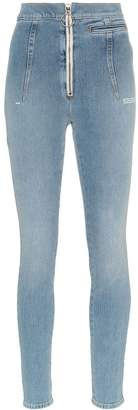 Off-White high-waisted bleach-wash skinny jeans