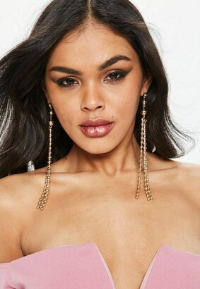 Missguided Gold Ball Chain Drop Earrings