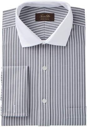 Tasso Elba Men's Slim Fit Non-Iron Twill Bar Stripe French Cuff Dress Shirt, Created for Macy's