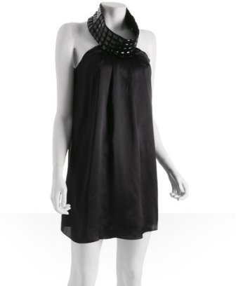 Tufi Duek black silk 'Sthella' jewel necklace halter mini dress