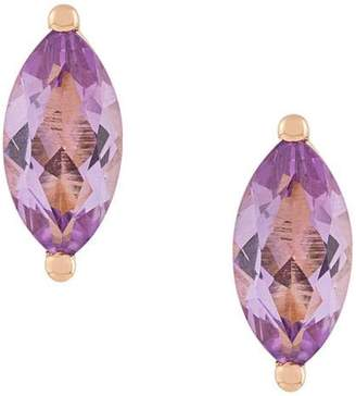 Delfina Delettrez 18kt champagne gold Dots Solitaire amethyst stud earrings
