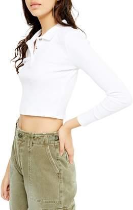 Topshop Long-Sleeve Button-Front Polo Shirt