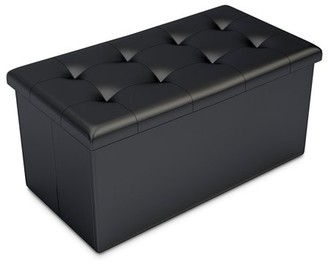 Storage Ottoman-Faux Leather Rectangular Bench with Lid-Space Saving Furniture for Blankets, Shoes, Toys and More-Organizer Trunk By Home-Complete