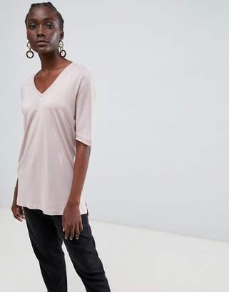 Selected Vita glossy v-neck t-shirt