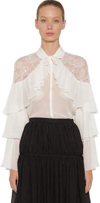 Giambattista Valli Ruffled Silk Lace & Crepe Shirt