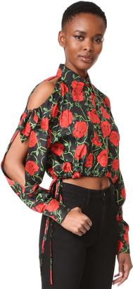 Alexander Wang Open Shoulder Crop Shirt $550 thestylecure.com