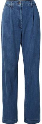 3x1 Pleated High-rise Wide-leg Jeans - Dark denim