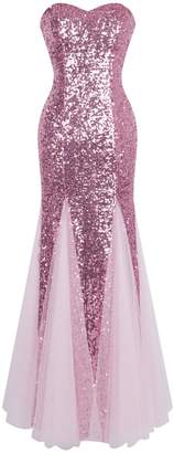 Angel-fashions Women's Sleeveless Sequins Tulle Evening Dress