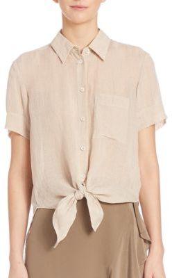 TheoryHekanina Tie-Front Cotton Top