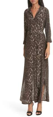 L'Agence Cameron Leopard Print Silk Maxi Shirtdress