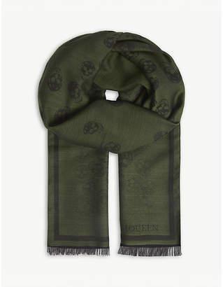 Alexander McQueen Degenerating skull print wool-silk scarf
