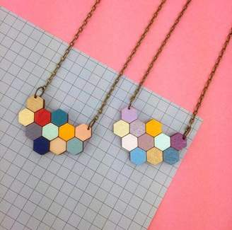 Red Paper House Hexagon Honeycomb Geometric Necklace
