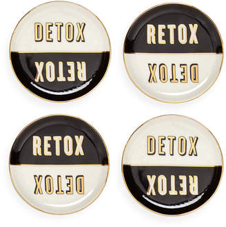 Jonathan Adler Master Cleanse Coasters - Set of 4 - Black/White/Gold