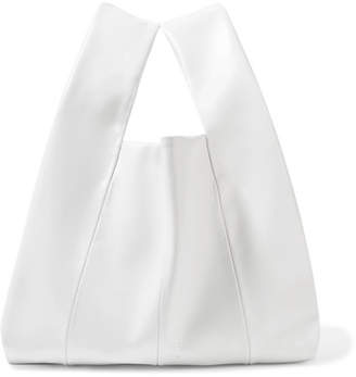Kara Shopper Mini Leather Tote - White