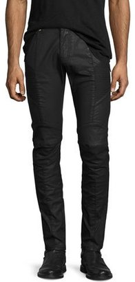 Pierre Balmain Coated Denim Skinny Moto Jeans, Black $725 thestylecure.com