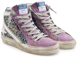 Golden Goose Slide High-Top Sneakers with Leather and Suede