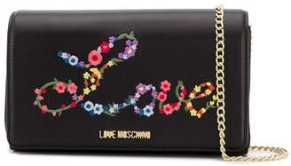 Love Moschino Love embroidered clutch bag