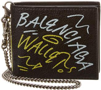 Balenciaga Graffiti Leather Chain Wallet