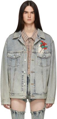 Gucci Blue Denim Oversized Embroidered Jacket
