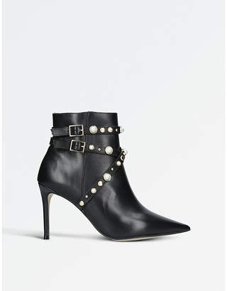 Carvela Granite faux pearl-embellished leather ankle boots