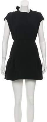 Miu Miu Pleat-Accented Mini Dress Black Pleat-Accented Mini Dress