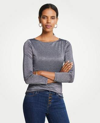 Ann Taylor Shimmer Boatneck Long Sleeve Tee