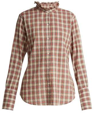 Nili Lotan Nola Ruffle Collar Plaid Cotton Shirt - Womens - Red