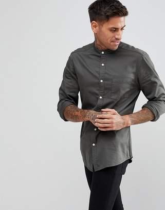 Asos Design DESIGN slim stretch denim shirt with grandad collar