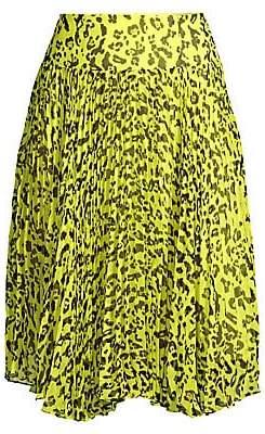 Nanette Lepore Women's Leopard Print Pleated Skirt