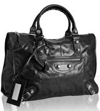 Balenciaga black lambskin 'Giant City' weekend bag
