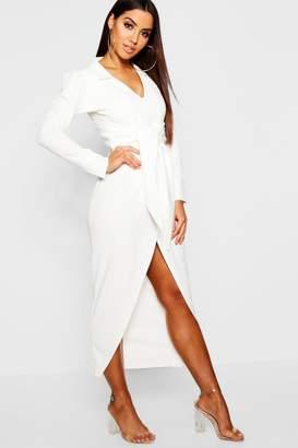 boohoo Plunge Front Tie Waist Blazer Maxi Dress