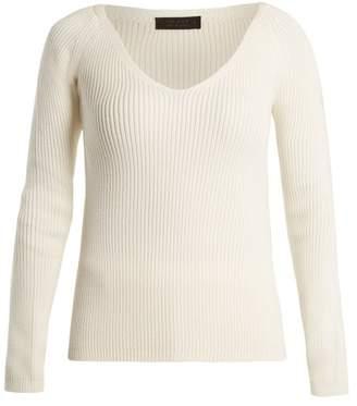 The Row Candice V Neck Wool Sweater - Womens - Ivory