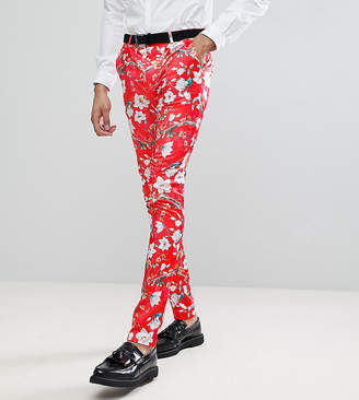 Asos Design Tall Super Skinny Suit Pants With Red Peacock Print
