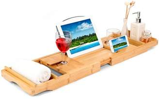 HURRISE Bamboo Bath Tray, Ejoyous Rack Bath Tub Caddy with Extending Side and Soap Holder Built in Wine,Bamboo Bathtub Caddy,Bamboo Bath Tray