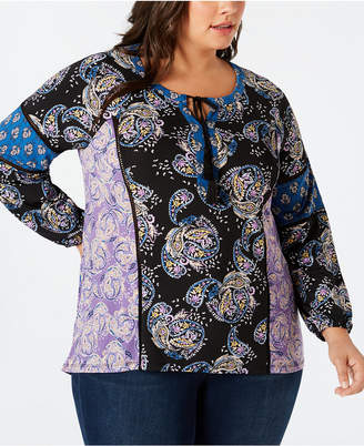 Style&Co. Style & Co Plus Size Paisley-Print Peasant Top