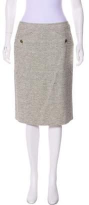 Max Mara Woven Knee-Length Skirt Green Woven Knee-Length Skirt