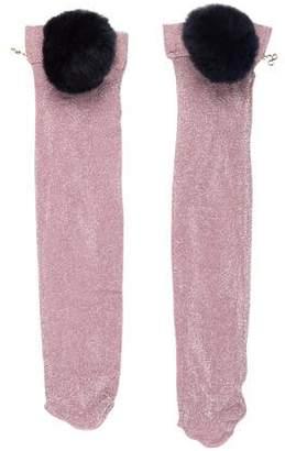 Edie Parker Fur-Trimmed Lurex Socks w/ Tags