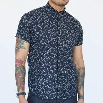 Blade + Blue Japanese Indigo Dyed 'Sticks' Print Short Sleeve Shirt - DEYOUNG