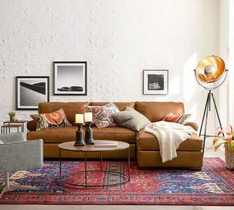 Pottery Barn Townsend Roll Arm Leather Chaise Sofa Sectional
