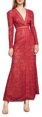 BCBGMAXAZRIA Long-Sleeve Mosaic Lace Maxi Dress