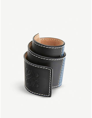 Loewe Patchwork logo-embossed leather slap bracelet