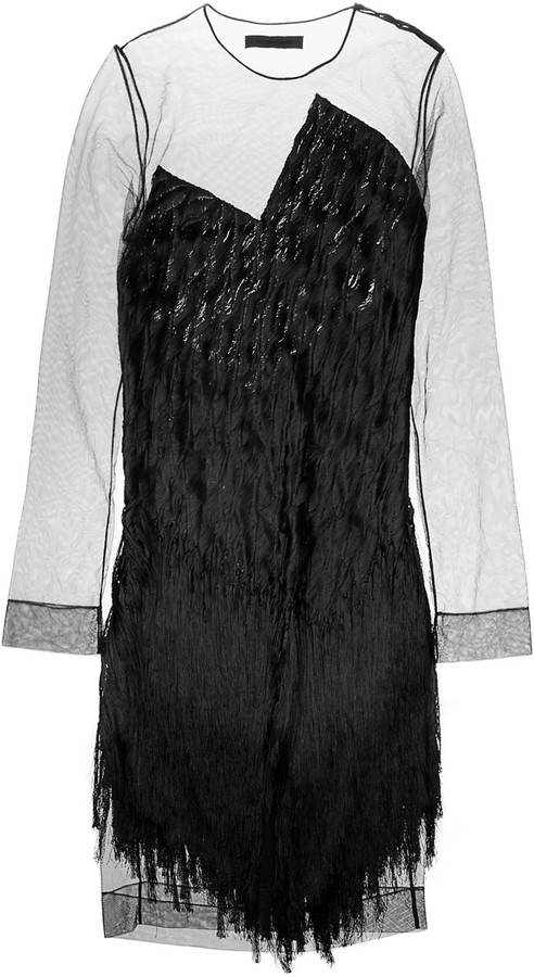 Alexander Wang Fringed tulle and silk dress